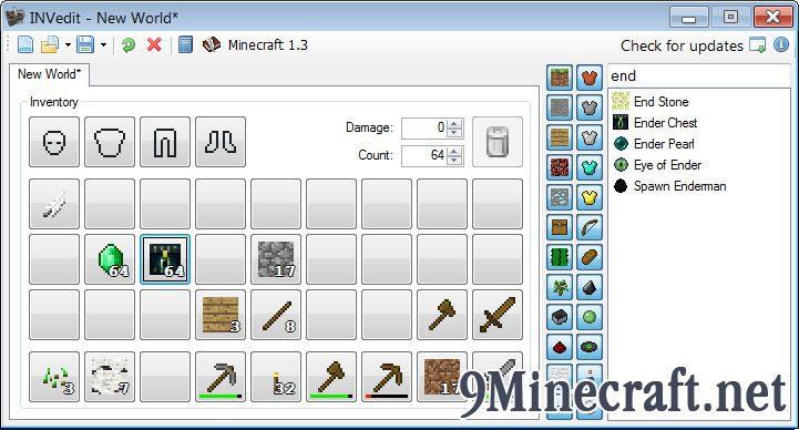 INVedit - Minecraft Inventory Editor - 9Minecraft Net