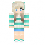 Skin striped blue girl skin another striped flowercrown girl skin