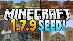 Mesa-biome-and-village-at-spawn-seed