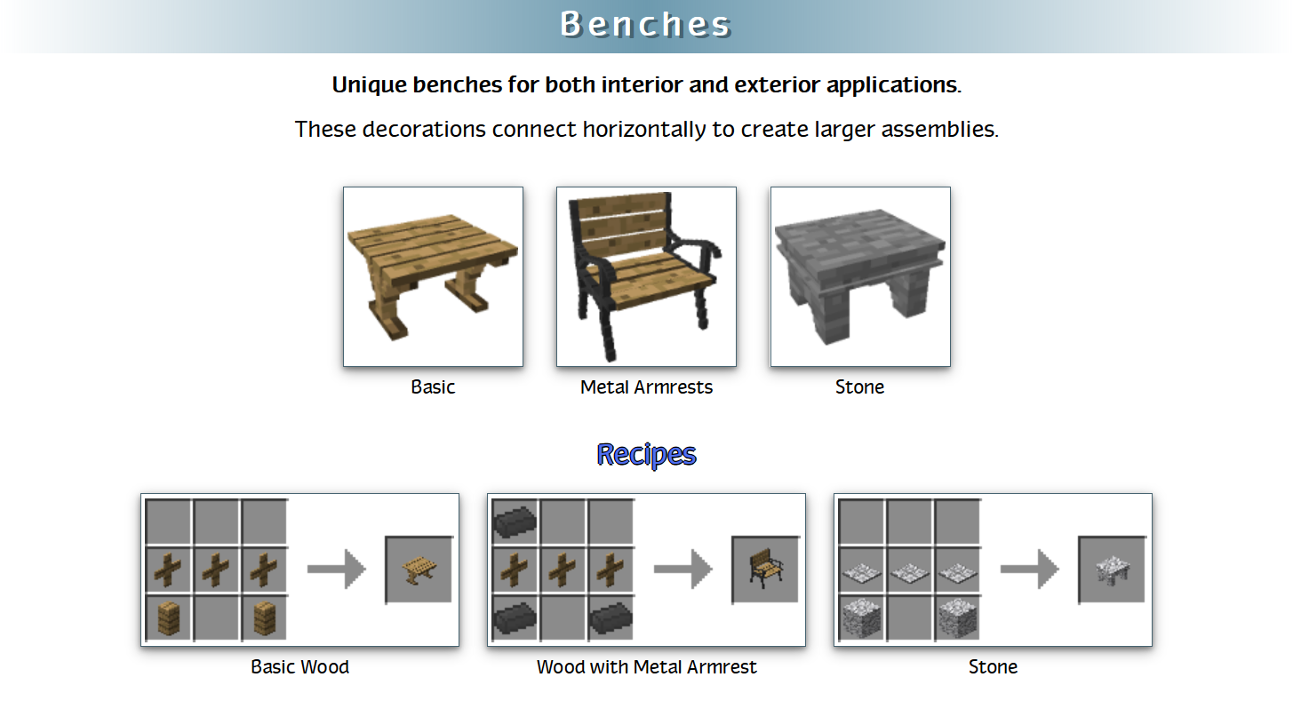 Decoration Mega Pack Mod Crafting Recipes 13