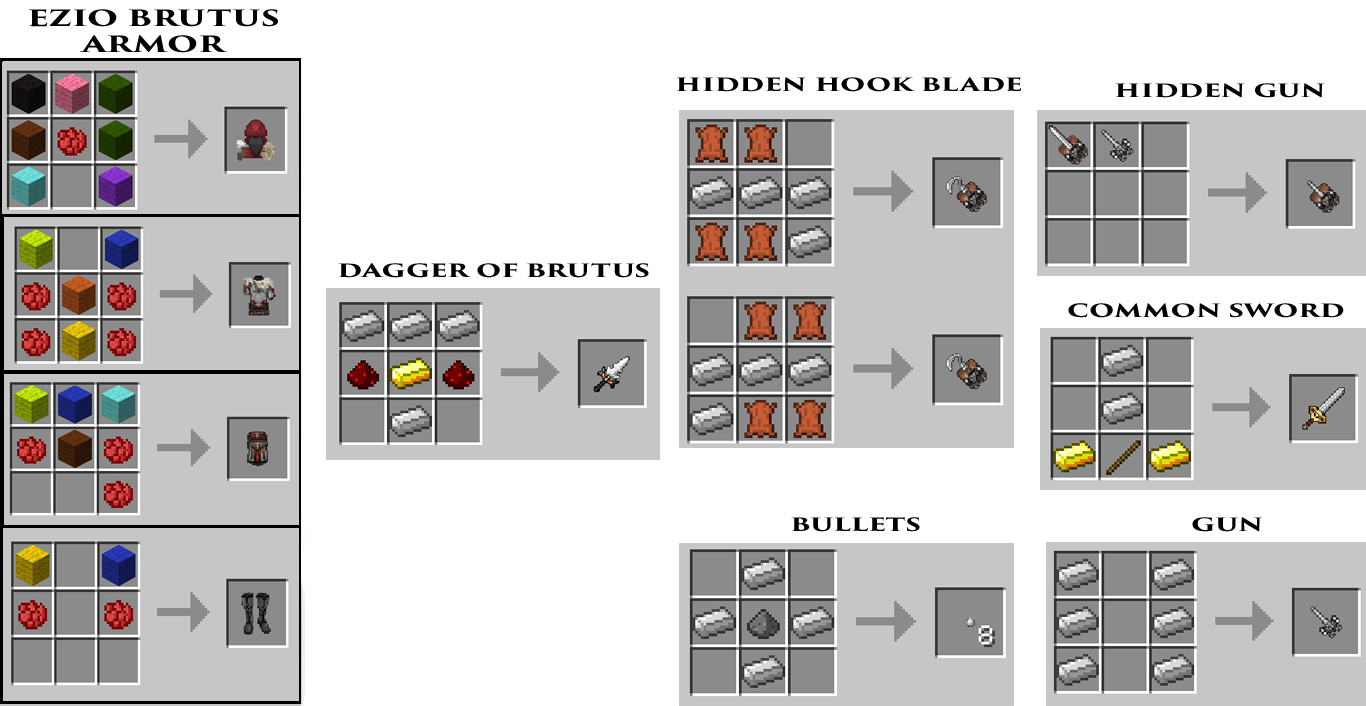 MineCreed Mod Crafting Recipes 3