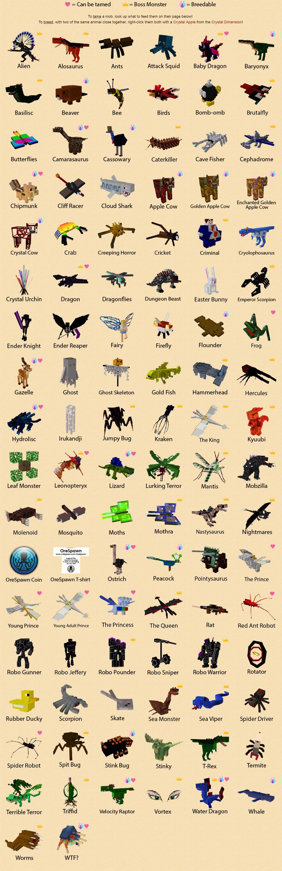 OreSpawn Mod Creatures