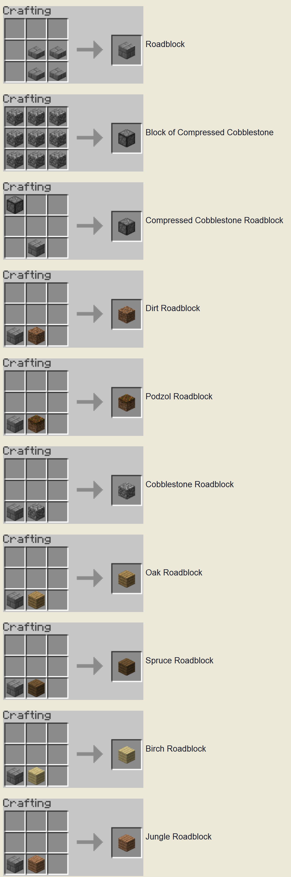 Roadblocks Mod Crafting Recipes 2