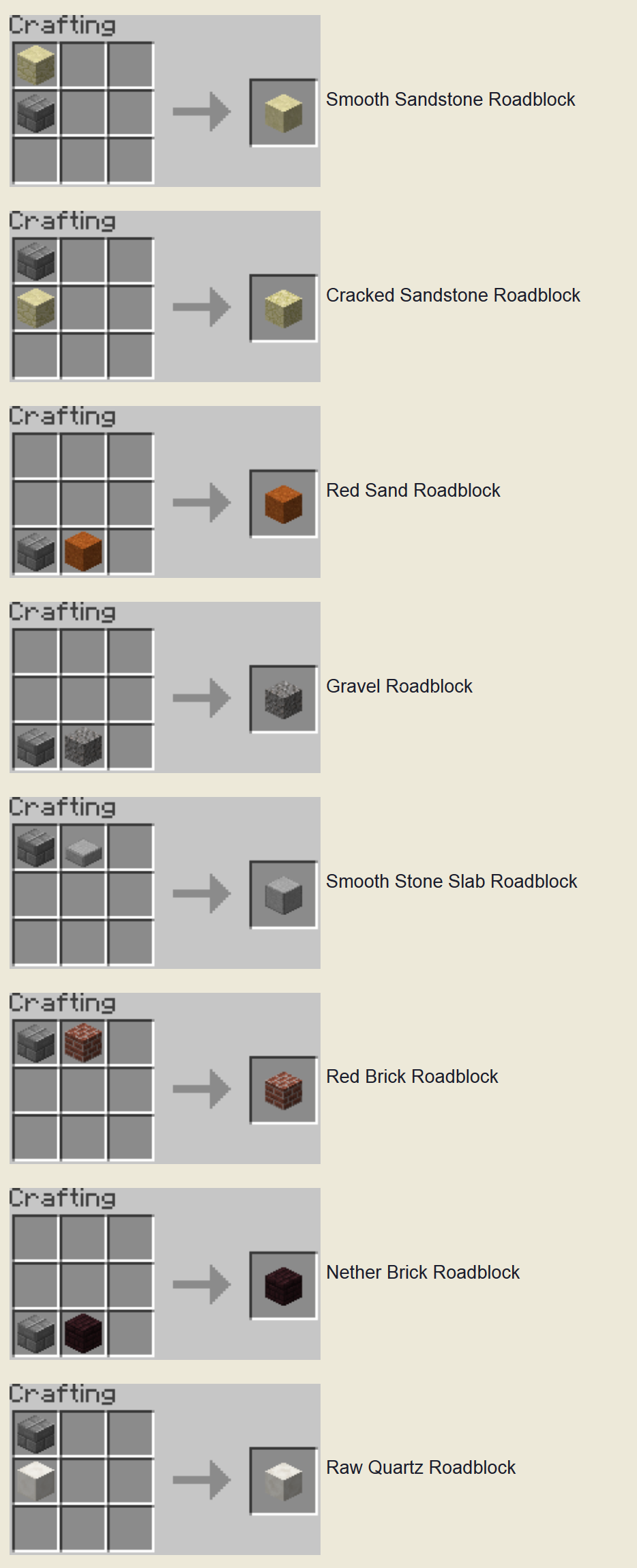 Roadblocks Mod Crafting Recipes 3