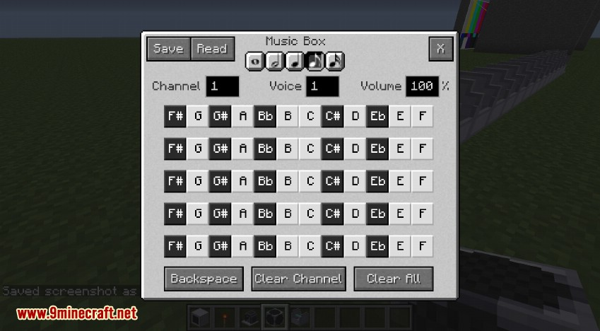 RotaryCraft Mod Music Box GUI