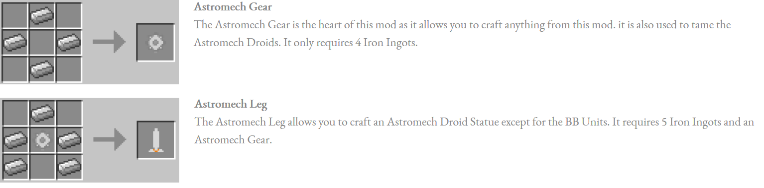 Astromech Droids Mod Crafting Recipes 1