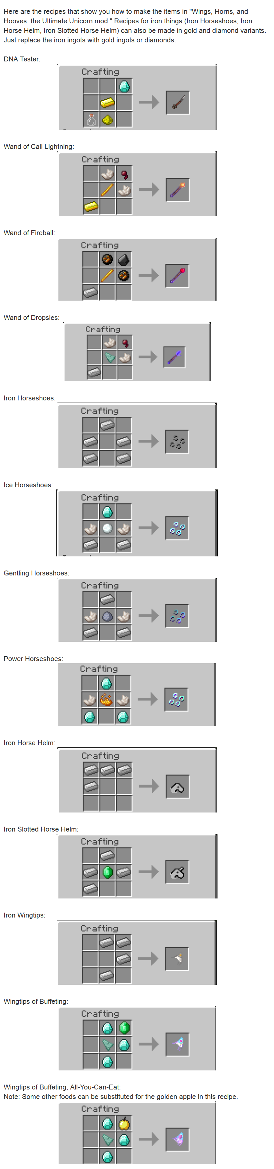 Ultimate Unicorn Mod Crafting Recipes 1
