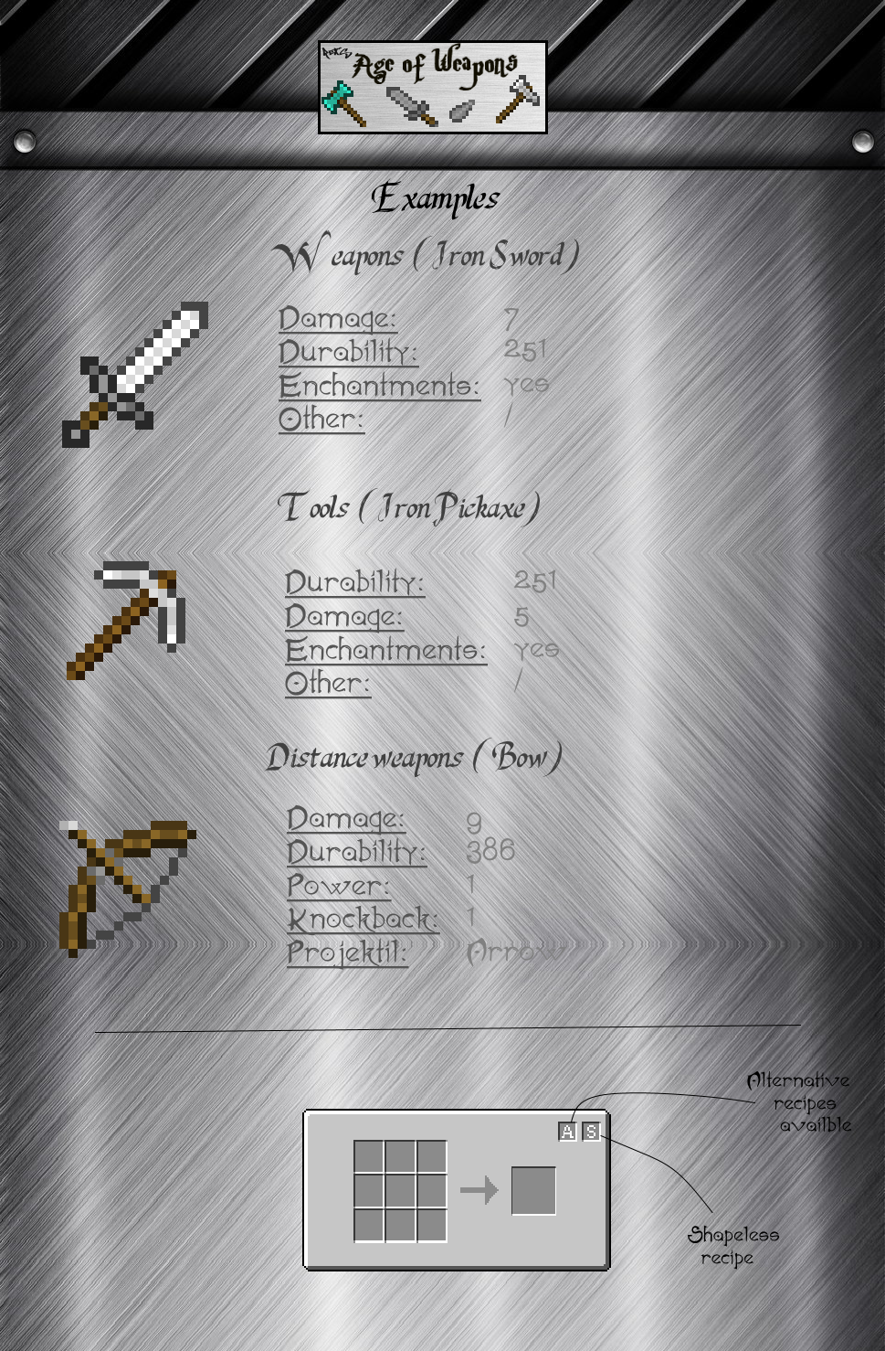 Age of Weapons Mod Crafting Recipes 5
