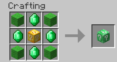 Emerald Lucky Block Mod Crafting Recipes 1