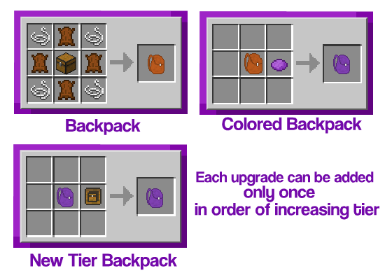 Improved Backpacks Mod Crafting Recipes 3