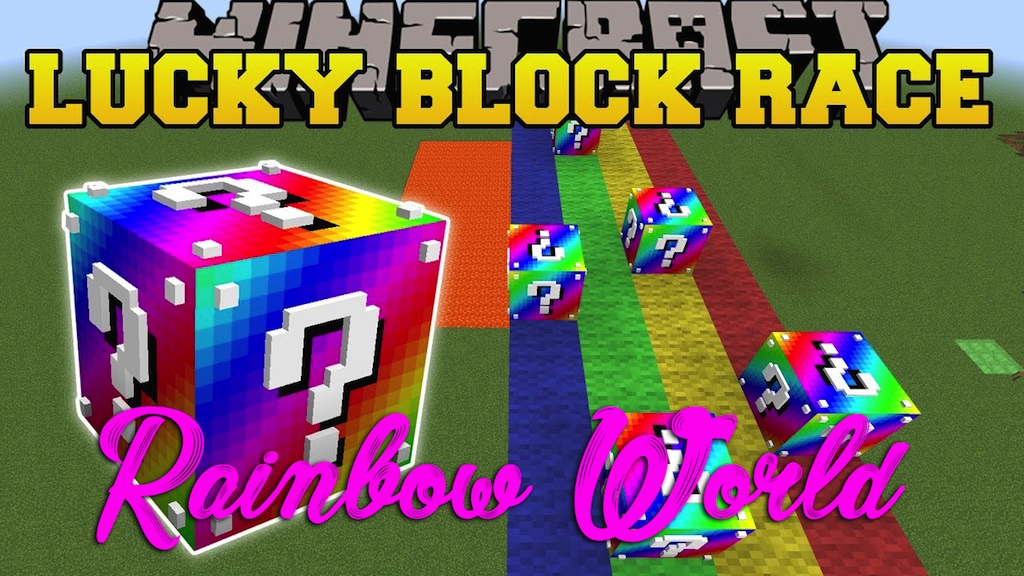 Rainbow World Lucky Block Race Map 1 12 2 1 12 For Minecraft