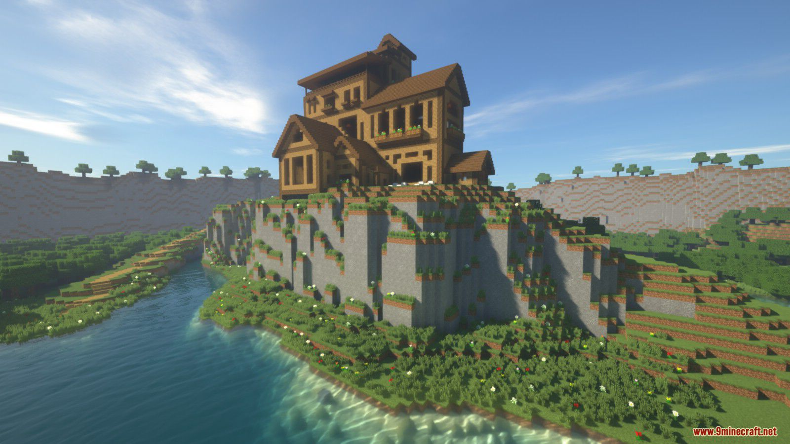 Cliffside Wooden Mansion Map 1 12 2 1 12 For Minecraft