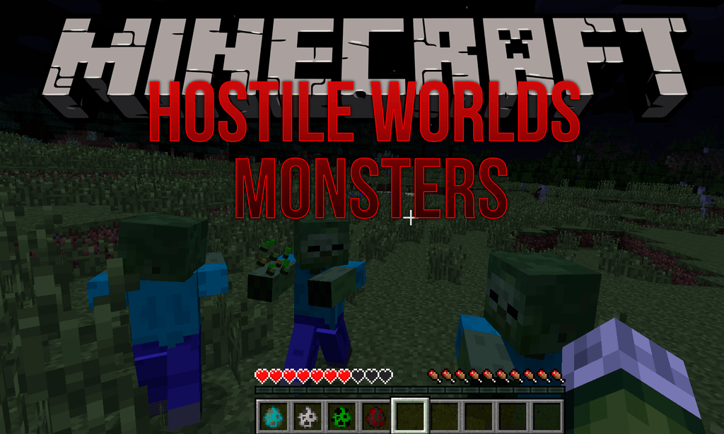 Hostile Worlds Monsters mod for minecraft logo