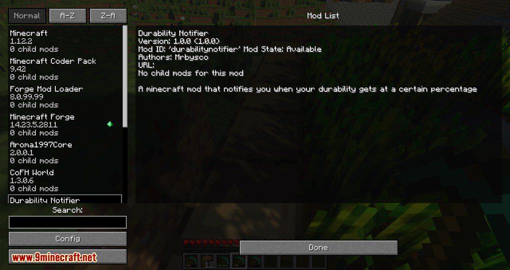 Durability Notifier mod for minecraft 02