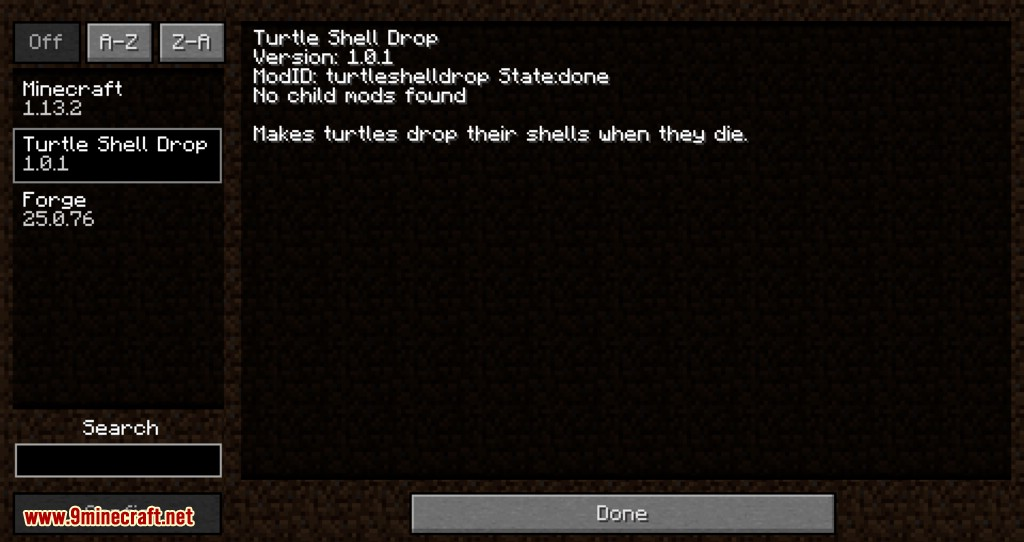 Turtle Shell Drop mod for minecraft 01