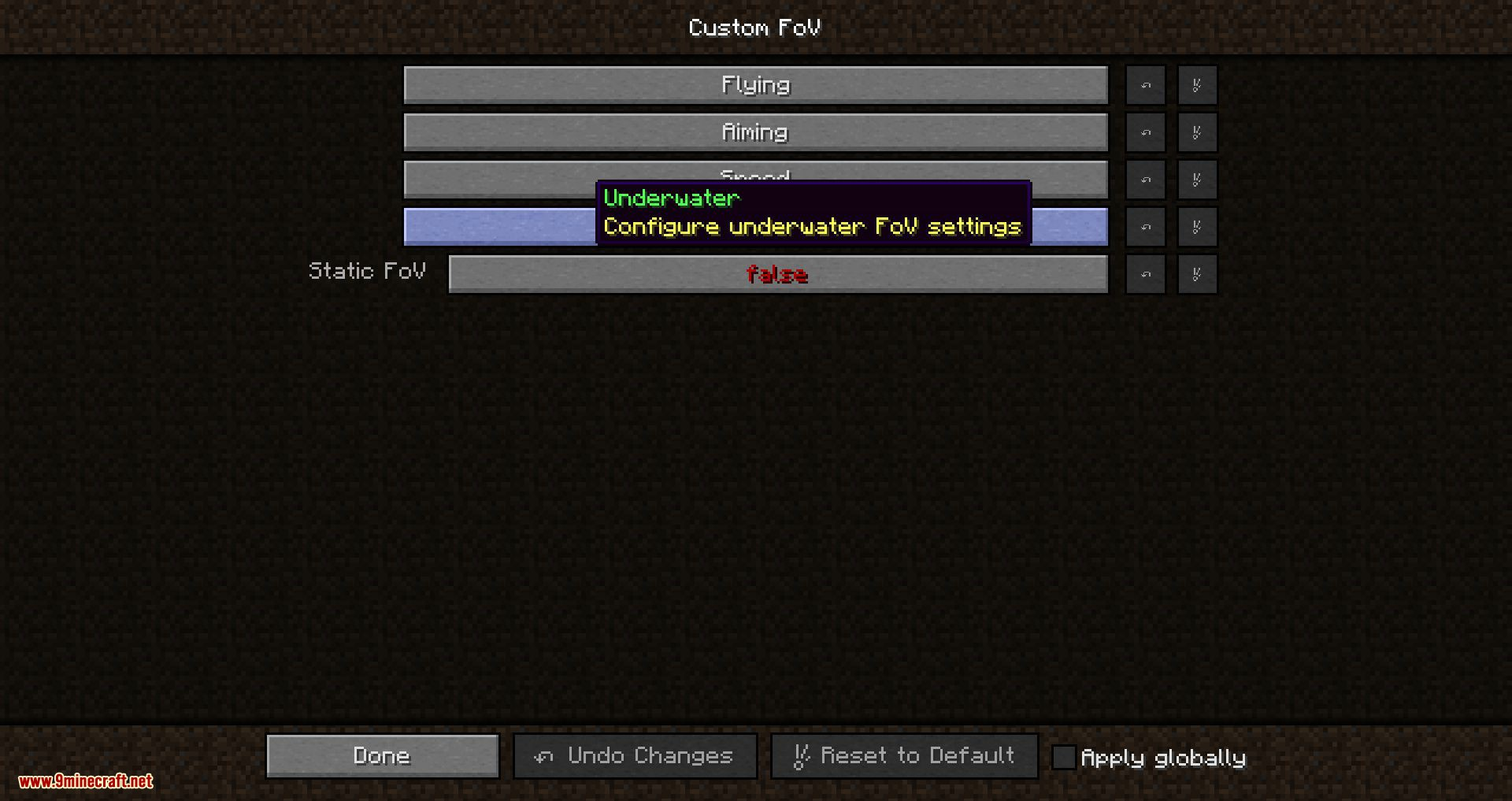 Custom FOV mod for minecraft 01