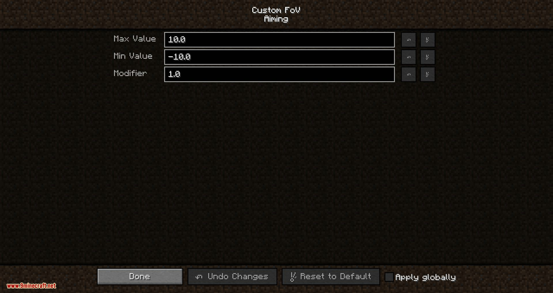 Custom FOV mod for minecraft 04