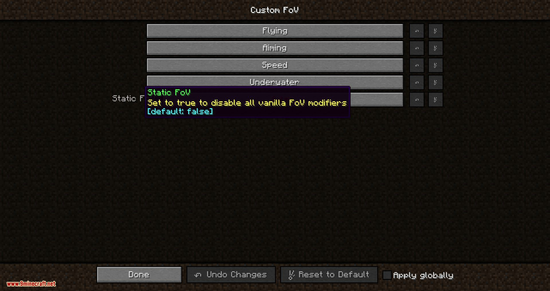 Custom FOV mod for minecraft 06