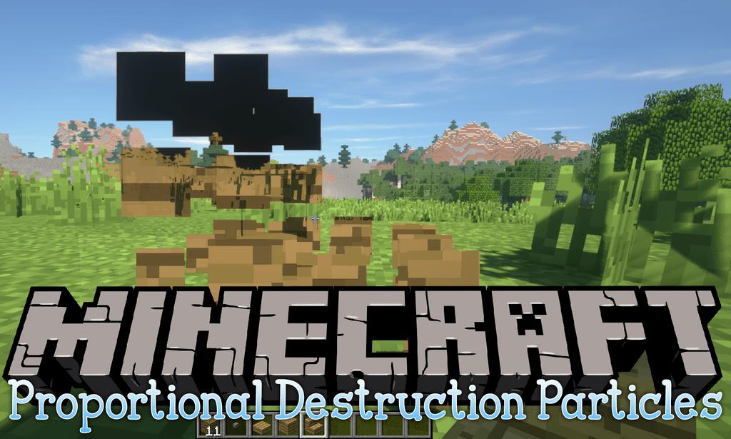 Proportional Destruction Particles mod for minecraft logo