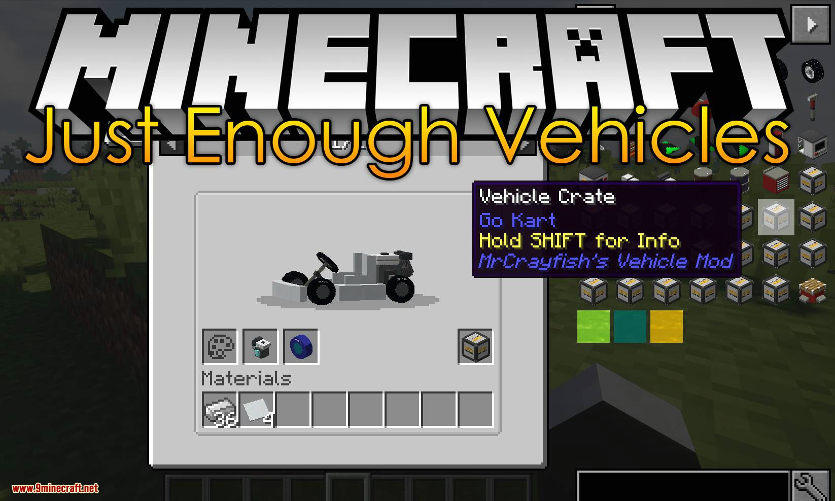 Just Enough Vehicles mod for minecraft logo