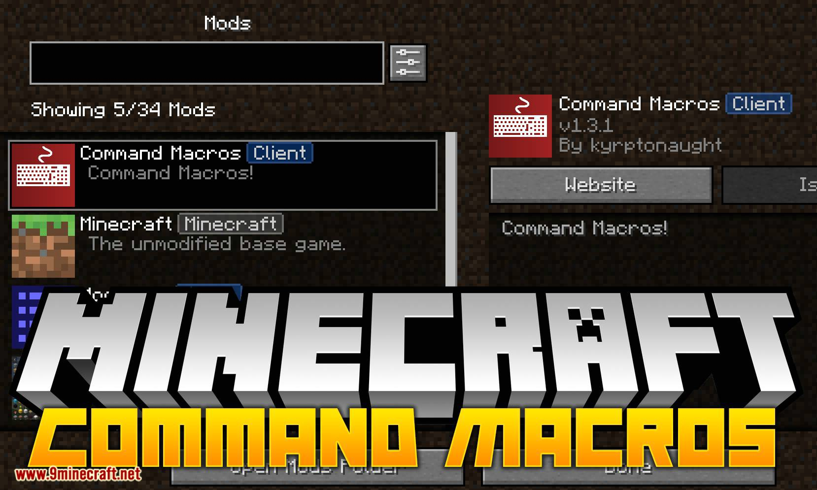 Command Macros mod for minecraft logo