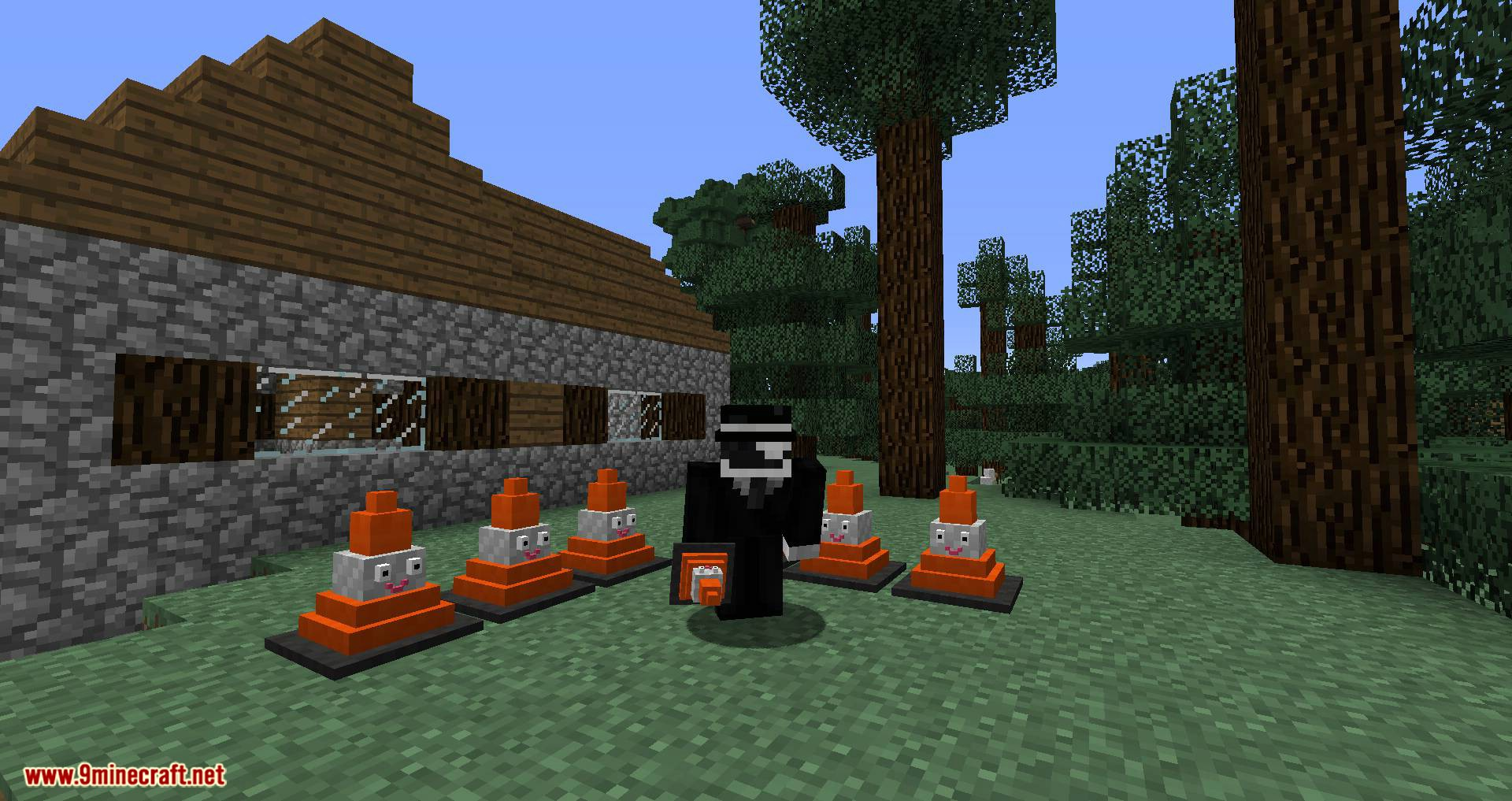 Smiley Traffic Cones mod for minecraft 07