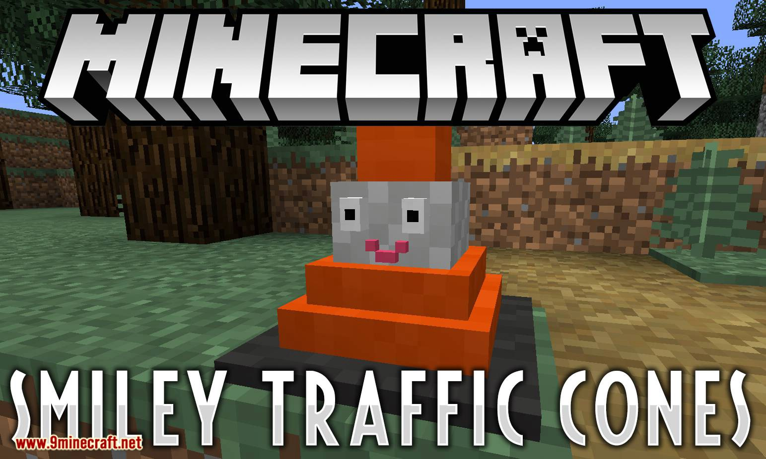 Smiley Traffic Cones mod for minecraft logo