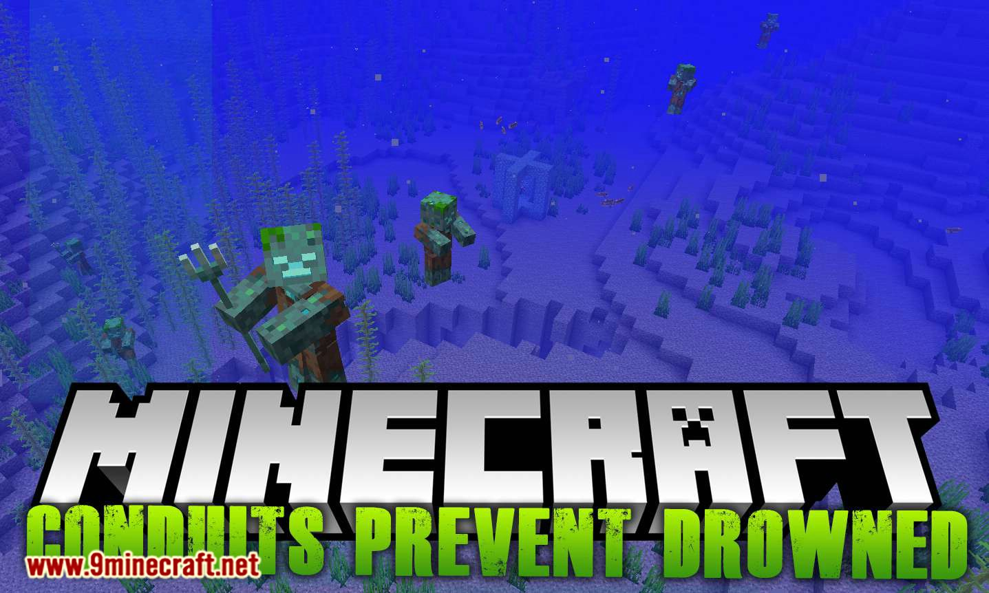 Conduits Prevent Drowned mod for minecraft logo