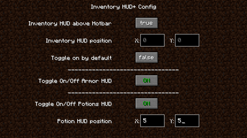 Inventory HUD+ mod for minecraft 21