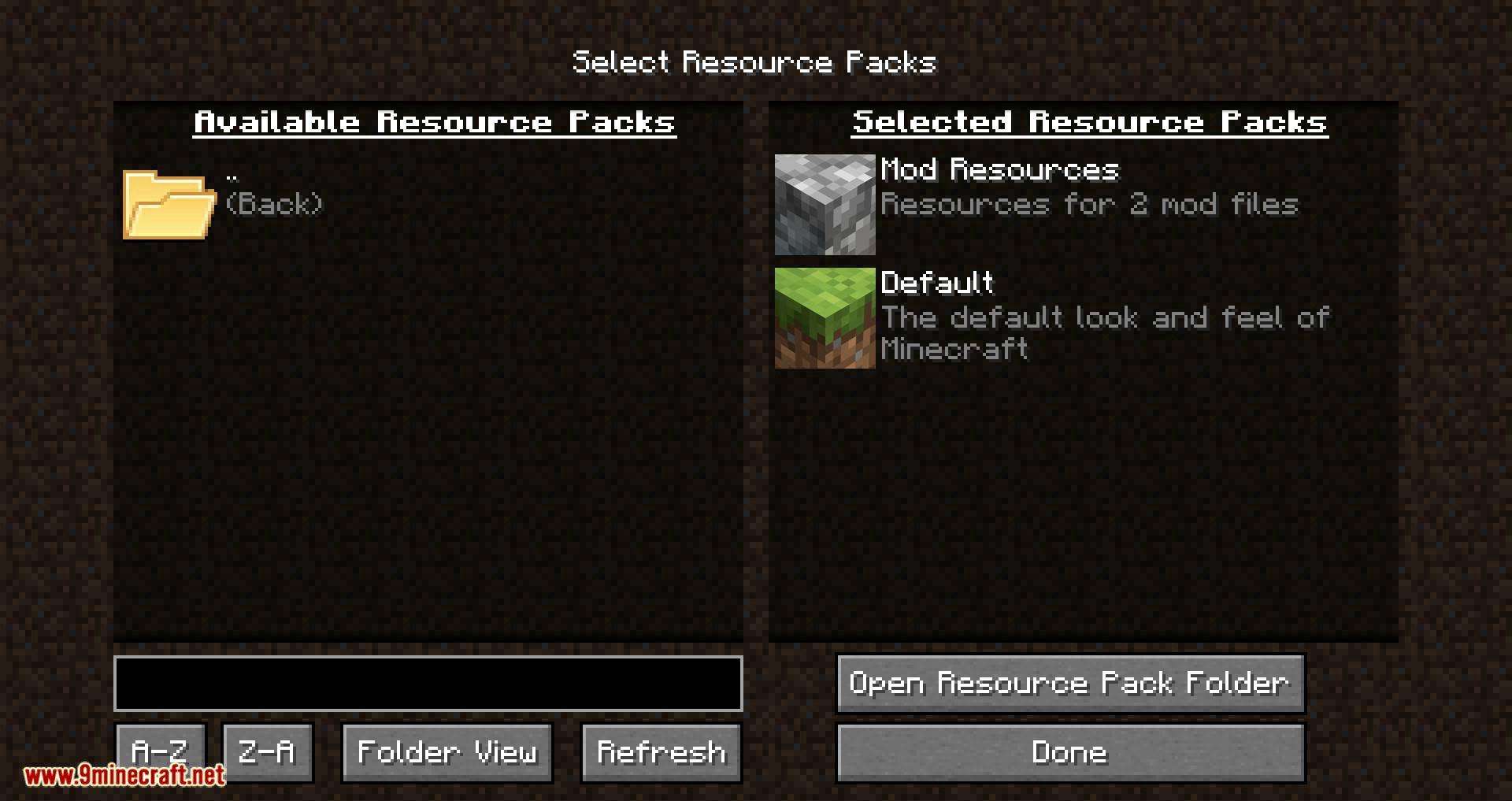 Resource Pack Organizer mod for minecraft 04