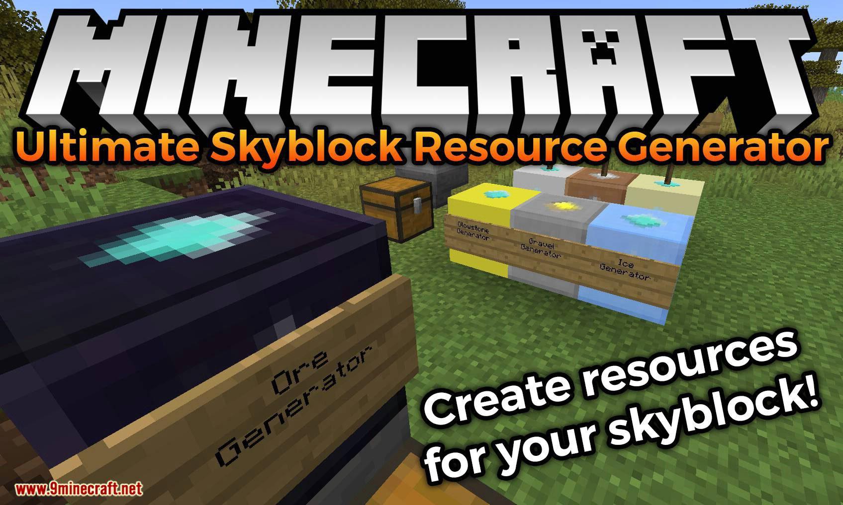Ultimate Skyblock Resource Generator mod for minecraft logo