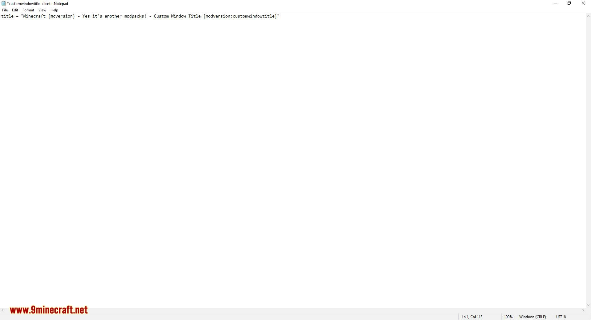 Custom Window Title mod for minecraft 06