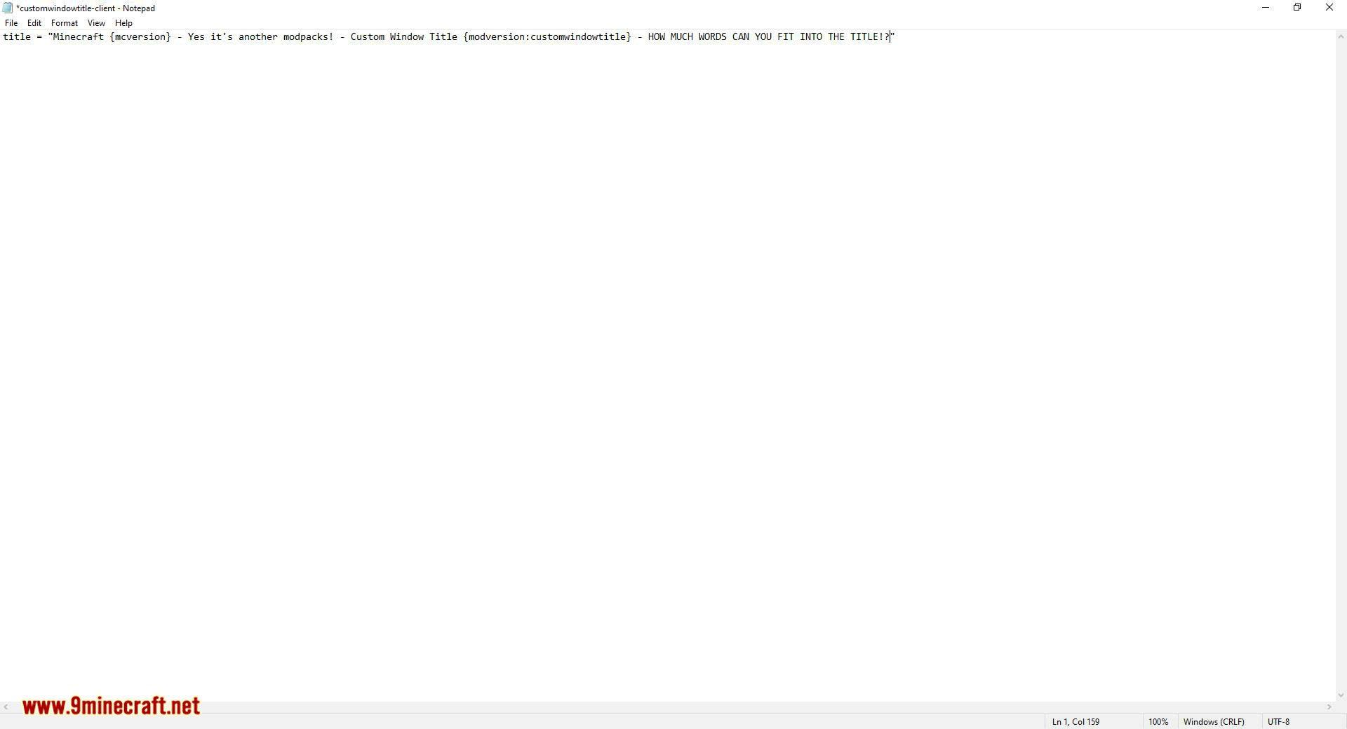 Custom Window Title mod for minecraft 07