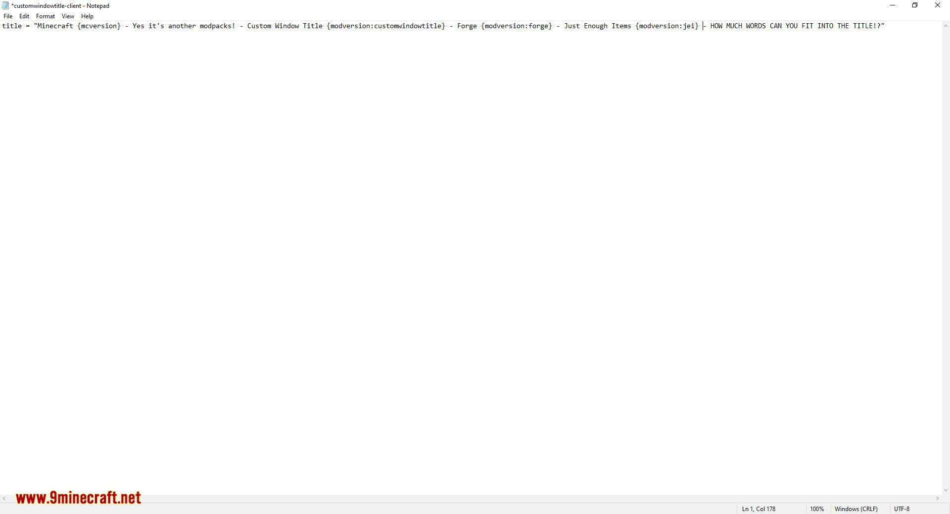 Custom Window Title mod for minecraft 09